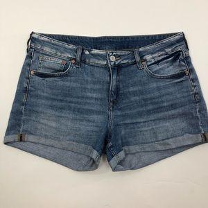 H&M Denim Shorts Boyfriend Cut Blue Rolled Cuff